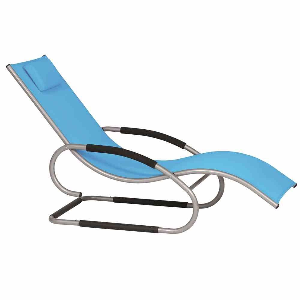 Siena Garden 268149 Swingliege Adria Aluminium-Gestell silber Ranotex®-Gewebe 2*1 blau Armlehnen gepolstert, mit Kopfteil