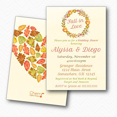Leaves Invitation Wedding Fall (Wreath Apple Fall in Love Wedding Shower Invitations | Envelopes Included)