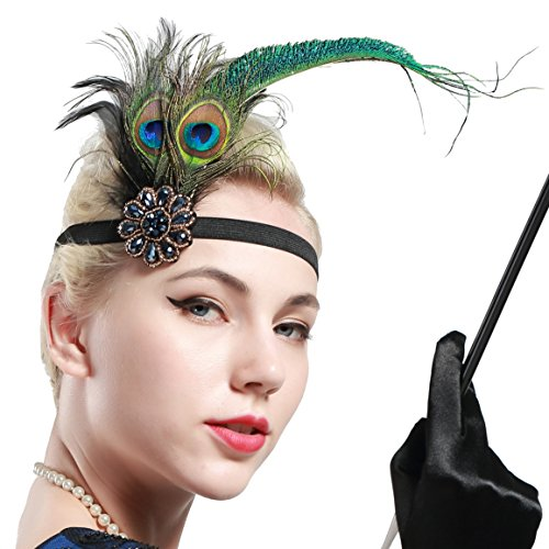 Showgirl Costumes Online (BABEYOND Roaring 20s Sequined Showgirl Flapper Headband with peacock Feather Plume (style-3), Black, One Size)