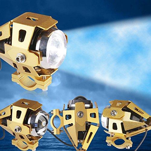 DLLL 3 Mode Strobe Waterproof Motorcycle Transformers 125W 3000LM 12V-80V U5 CREE LED Headlight/Fog Lamp/Daytime Running Light/Spotlight (Golden)