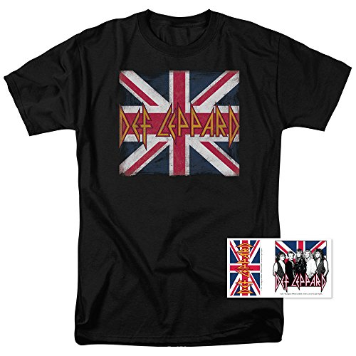 (Def Leppard Logo Union Jack 80s Rock T Shirt (Large) Black)