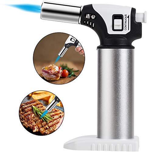 Culinary Butane Torch,Refillable Kitchen Blow Lighter Torch with Safety Lock & Adjustable Flame for Creme Brulee, Meat, Seafood (Butane not included)