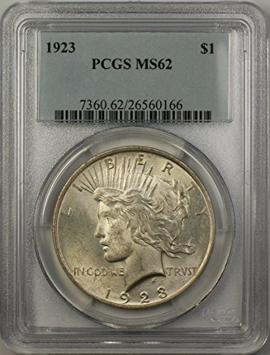 1923 Peace Silver Dollar Coin (ABR14-B) $1 MS-62 PCGS