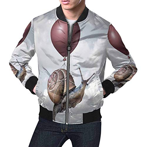 Balloon Bombers - InterestPrint Funny Surreal Snail Flying with a Balloon Men's Classic Bomber Jacket M
