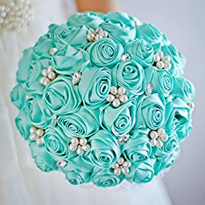 Tiffany Blue Rose Bridal Brooch Bouquet Wedding Bride 'S Jewelry Pearl Rhinestone Bouquets Holding Flowers 55