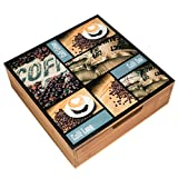 Decorative Bamboo Tea & Coffee Pod Drawer Or Countertop Storage Box w/Glass Top