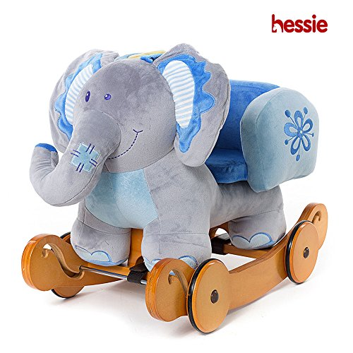 Hessie Modern Plush Rocking Horse with Soft Cute Stuffed Animal, Indoor Ride On Toys Rockers with Wheels for Toddlers Kids Little Boys & Girls (6-36 Months) - Padded Blue Elephant -