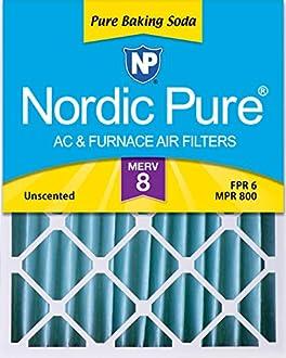 "Nordic Pure 16x20x4 (3-5/8 Actual Depth) Pure Baking Soda Odor Deodorizing AC Furnace Air Filters, 1 Pack, 16"" x 20"" x 4"""