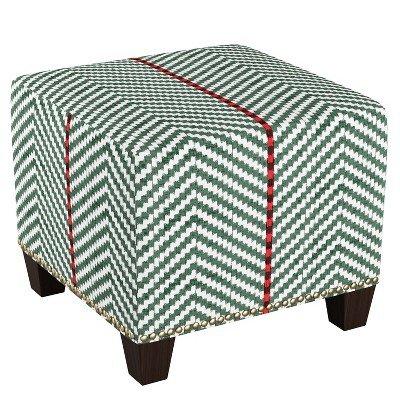 Square Nail Button Ottoman Broken Twill Evergreen Lga - Skyline Furniture Broken Twill Evergreen Lga