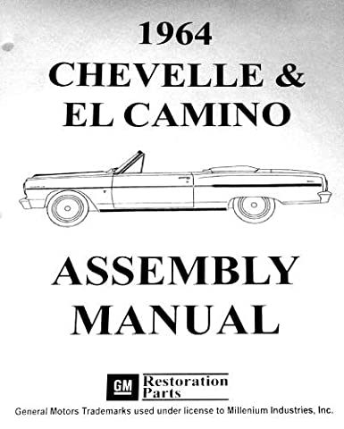 1964 CHEVROLET CHEVELLE, SS, MALIBU & EL CAMINO FACTORY ASSEMBLY INSTRUCTION MANUAL. INCLUDES: 300, Deluxe, Malibu, SS, SS-396, Concours, El Camino, Convertibles, 2- & 4-door hardtops, Station Wagons, and Super Sports. CHEVY - 1964 Malibu Convertible