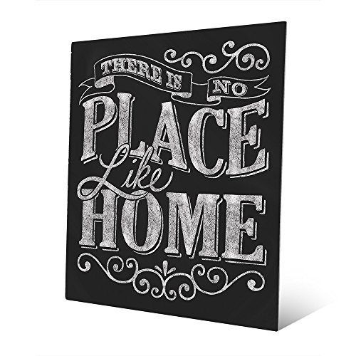 There is No Place Like Home - Ribbon Chalkboard-look Indoor Sign Wall Art Print on Metal