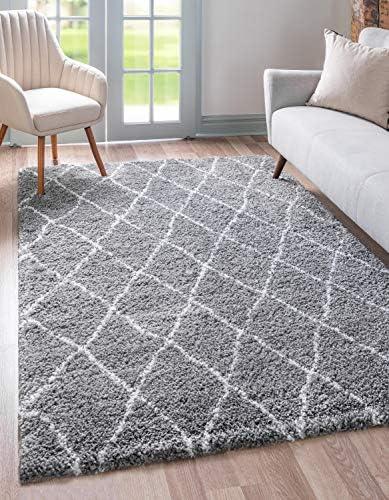 Unique Loom Rabat Shag Collection Geometric Trellis Beni Ourain Plush Gray Area Rug 9' 0 x 12' 0