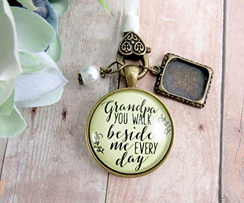 (Grandfather Wedding Bouquet Charm Grandpa You Walk Beside Me Photo Frame Memorial Rustic Remembrance Jewelry For Bridal Flowers )
