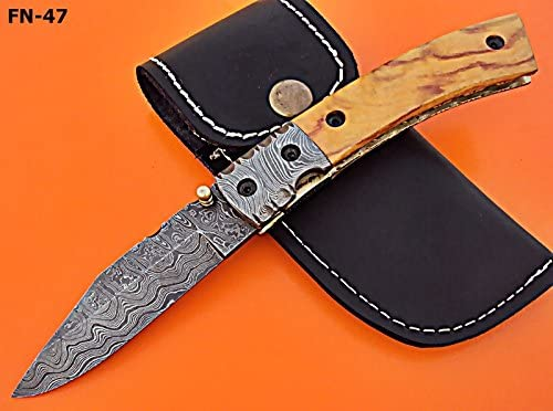 FN-47 Custom Handmade Damascus Steel Folding Knife- Olive Wood Handle
