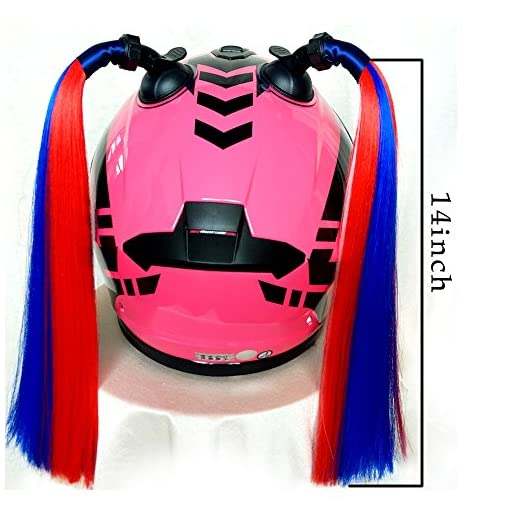 Namecute Helmet Pigtail Helmet Ponytail with Removable Suction Cup Used for Motorcycle or Bicycle Helmet