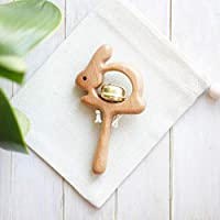 Wooden Rabbit Rattle with Bell - Baby Shower Gift - Wood Rattle Toy - Newborn gift - Animal Rattle
