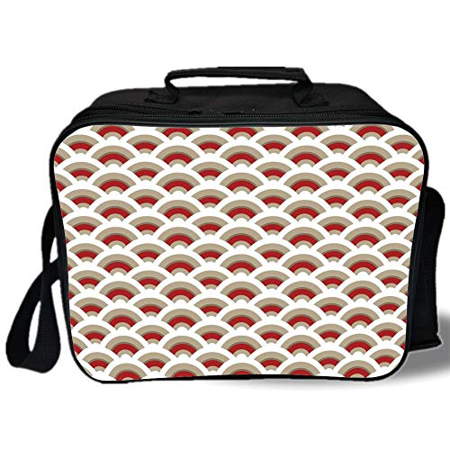 Insulated Lunch Bag,Abstract,Oriental Scallop Pattern Inspired by Traditional Moroccan Arabesque Art Design,Red Tan White,for Work/School/Picnic, Grey