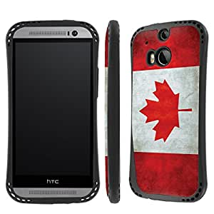 NakedShield HTC One (M8) Flag Canada Heavy Duty Shock Impact Armor Art Phone Case