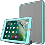 TECHGEAR D-FENCE Case for New Apple iPad 9.7' ( 2018 / 2017 ) - Slimline Shock Proof Tough Rugged Protective Armour Defence Smart Case with Detachable Screen Cover / Stand - Kids Schools Builders Workman Case [GREY / AQUA] - for 5th & 6th Generation iPad 9.7'