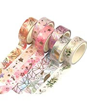 Yubbaex Floral Gold Washi Tape Set VSCO Foil Masking Tape Decorative for Arts, DIY Crafts, Bullet Journal Supplies, Planners, Scrapbook, Card/Gift Wrapping -15mm-