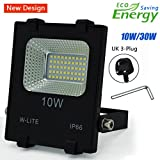 10W LED Flood Lights, Waterproof Outdoor Floodlight,Outdoor Security Lighting,Super Bright 50 LED, Soft Daylight White, Full Power, 120W Equivalent, 86-265V Input Voltage (with UK 3-Plug)