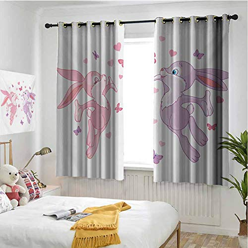 hengshu Butterfly 99% Blackout Curtains Valentine Bunnies Kissing in Air with Love Hearts and Butterflies Natural Life for Bedroom Kindergarten Living Room W55 x L72 Inch Pink Purple