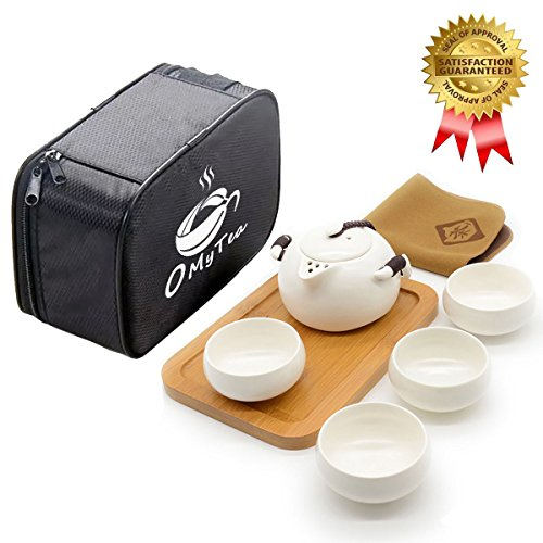 OMyTea Handmade Chinese / Japanese Vintage Kungfu Gongfu Tea Set with a Portable Travel Bag (White)