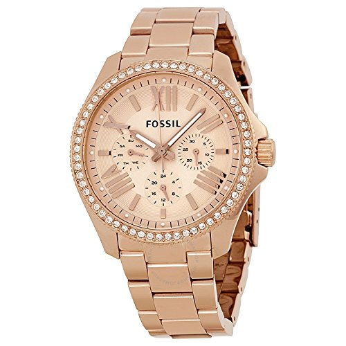 Fossil Women's AM4483 Cecile Rose Gold-Tone Watch with (Fossil Womens Crystal Watch)