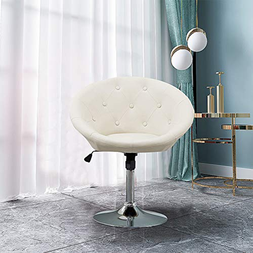 (HEYNEMO Ground Swivel Chair, PU Leather Adjustable Tilt Lounge Chair, Luxury Contemporary Salon Stool with Wheels Swivel Tufted Chair, Cream)