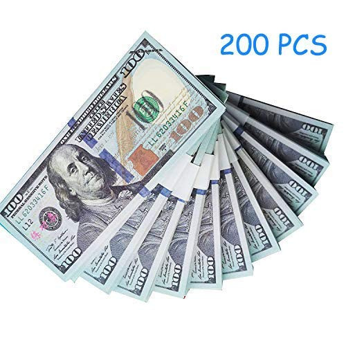 Movie Prop Money Full Print 2 Sided ,200 PCS $100 Dollar Bills Stack,Play Money Copy Money for Movies,Kids,Fun and Party,Shipment from USA