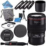 Canon EF 100mm f/2.8L Macro IS USM Lens 3554B002 + 67mm Macro Close Up Kit + Lens Cleaning Kit + Lens Pen Cleaner + Fibercloth Bundle