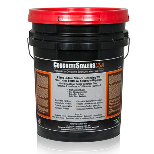 PS108 Sodium Silicate Densifying WB Penetrating Sealer w/ Siliconate Repellent (5 gal.) by Concrete Sealers USA