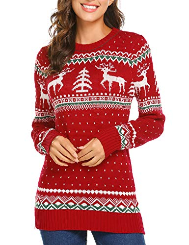 (UNibelle Christmas Cute Snowflakes Knitted Sweater Girl Pullover, 01-red, Large)