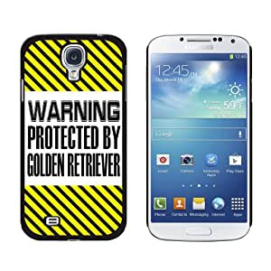 Graphics and More Warning Protected By Golden Retriever Snap-On Hard Protective Case for Samsung Galaxy S4 - Non-Retail Packaging - Black