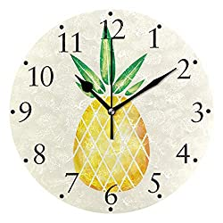 VIKKO Watercolor Fruit Hand Drawn Pineapple Wall Clocks Battery Operated Home Decorative Round Wall Clock 9.4 IncKitchen Bedroom Living Room Classroom Office Clock