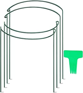 """VeSumly Plant Support Stake, 4 Pack Half Round Metal Garden Plant Stake, Green Plant Support Ring, Plant Cage Include 4 Plant Marks for Tomato, Hydrangea, Vine(9.8"""" Wide x 15.8"""" High)"""