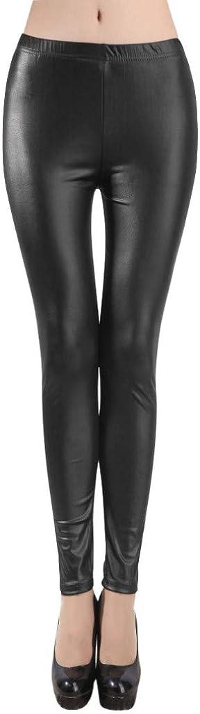 riou Leggins Cuero Pantalón Elástico Negro para Mujer Moda Cintura Alta Leggings Mallas Pantalones de Deporte polainas para Yoga Running Fitness con Gran Elásticos