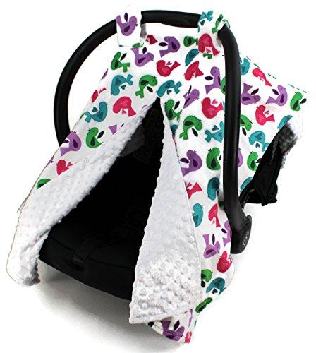 - Dear Baby Gear Deluxe Car Seat Canopy, Birds, Multi Color / White Minky Dot