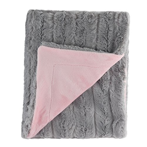 """Posh Designs Ultra Soft Baby Receiving Blanket - Luscious, Luxurious and Cuddly Minky Reversible Blankie - Chinchilla Style Gray and Pink Blush - 30"""" x 36"""" - by"""