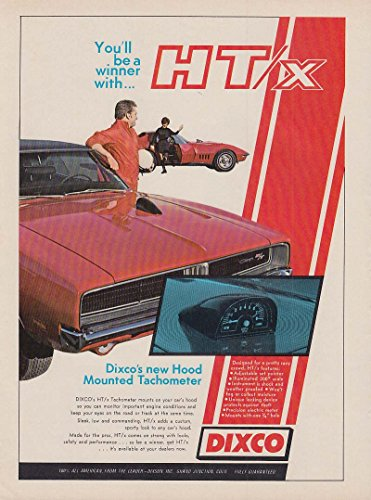 (Be a winner Dixco Hood Mounted Tach ad 1969 Dodge Charger R/T Corvette)
