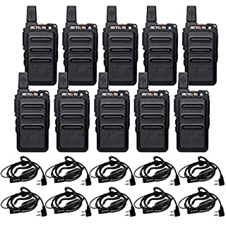 Retevis RT19 2 Way Radio,Adults Walkie Talkies Rechargeable with Earpiece Headset,22 Channel Mini Two Way Radios,Hands Free Metal Clip for Business(10 Pack)