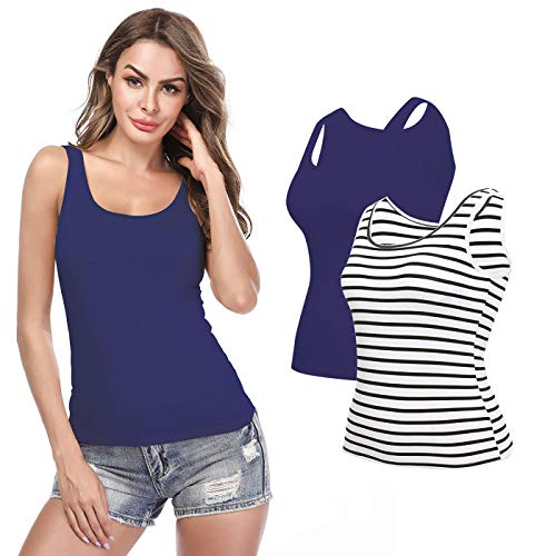 Camisoles for Women with Built in Bra, Summer Sleeveless Tank Top Padded Bra Women cami for Yoga,Daily Wearing (Stripe-Black/Navy-2 Pack, XX-Large=US 8-10)