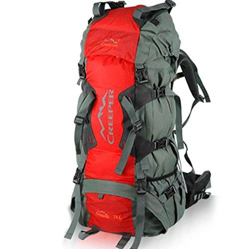 60L Mochilas hombres y mujeres bolsas de viaje de tapa blanda acoplamiento de la resina del alpinismo impermeable , yellow Red