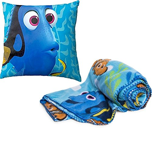 Disney / Pixar Finding Dory Kids 2 Piece Bedding Accessory Set - Super Soft Plush Throw Blanket and Dory Pillow Set