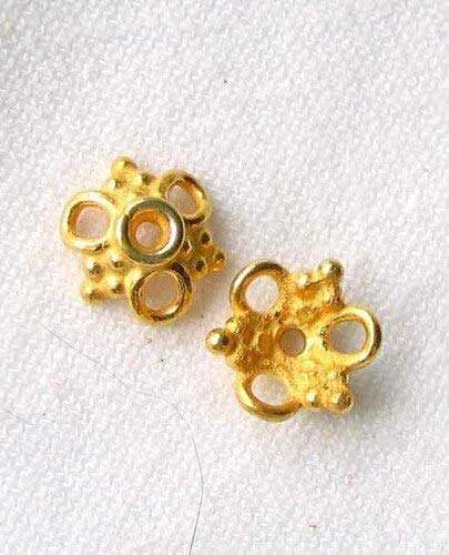 2 Etruscan Style 22K Vermeil 3-Loop 4x9mm Bead Caps for Jewelry Making 8586