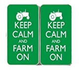 Keep Calm and Farm on Tractor Green Logo - White Taiga Hinge Wallet Clutch