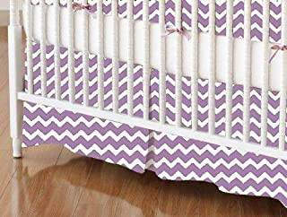 product image for SheetWorld 100% Cotton Percale Crib Skirt 28 x 52, Lilac Chevron Zigzag, Made in USA