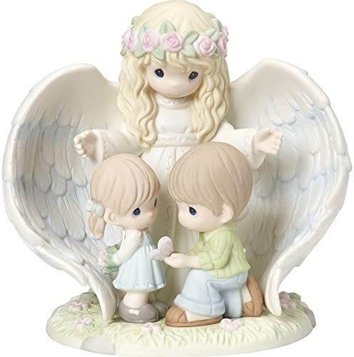 Precious Moments Limited Edition Whatever You Do May Your Guardian Angel Watch Over You Angel with Children Bisque Porcelain Home Decor Collectible Figurine 173001