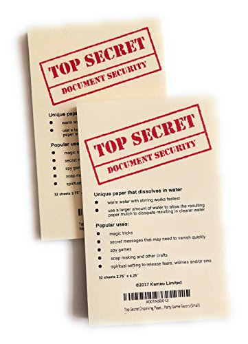 Top Secret Dissolving Paper Note Pad – Water Soluble and Disappearing Paper for Magic Tricks, Secret Agent Spy Party Game Favors (Small)
