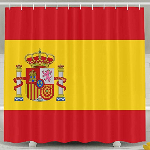 Baby Shower Curtain Set, Bathroom Accessories, Bathroom Waterproof Fabric Long Portable Adjustable Shower Curtain Set With Rings For Men Women Kids, Spain Flag by Fallake